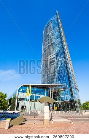 Bonn, Germany - June 29, 2018: Post Tower Is The Headquarters Of The Logistic Company Deutsche Post