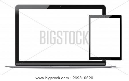 Laptop And Tablet Pc Mockup Set. Mobile Devices Vector Illustration. Notebook And Phablet Isolated O