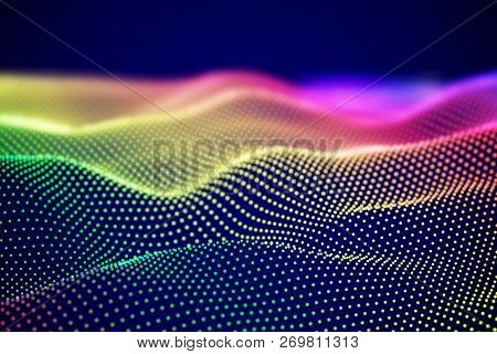 Abstract Digital Landscape Or Soundwaves With Flowing Particles. Big Data Technology Background. Vis