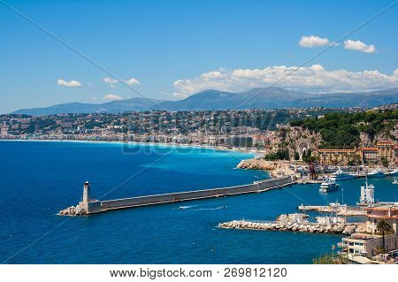 Mediterranean Coastline Of Nice City In Southern France