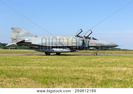 Florennes, Belgium - Jun 15, 2017: Greek Air Force F-4 Phantom Fighter Jet Taxiing Towards The Runwa