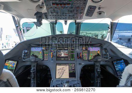Paris, France - Jun 23, 2017: Modern Glass Cockpit Of The Dassault Falcon 900lx Business Jet At The