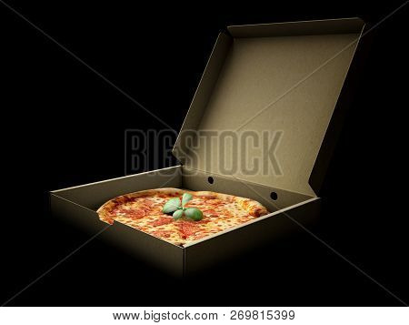Pizza In A Cardboard Box Against A Dark Background. Pizza Delivery Or Pizza Menu Content. 3d Illustr