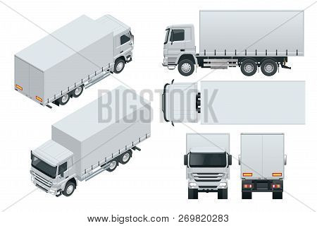 Truck Delivery, Lorry Mock-up Isolated Template On White Background. Isometric, Side, Front, Back, T