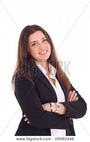 A pretty young businesswoman smiling. Isolated against a white background.