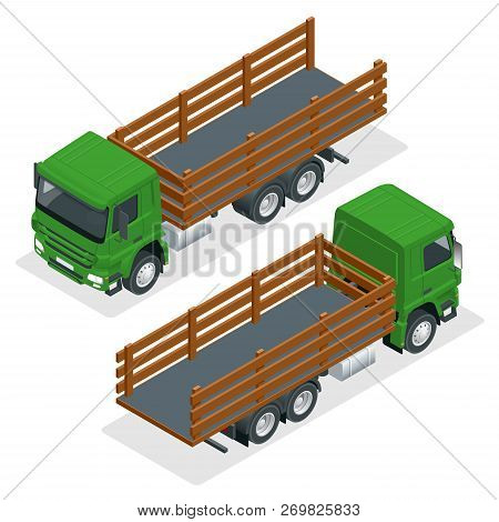 Isometric Flatbed Truck Template Isolated On White On White. Vehicle Branding Mockup. Flatbed Truck