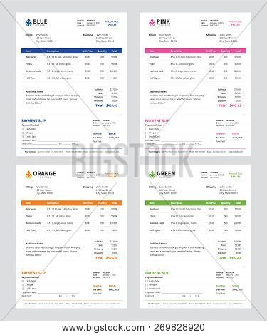 Invoice Templates In Blue, Pink, Orange And Green With Payment Slip Cutoff