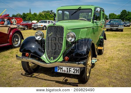 Paaren Im Glien, Germany - May 19, 2018: Small Family Car Ford Koln (cologne), 1934. Manufactured At