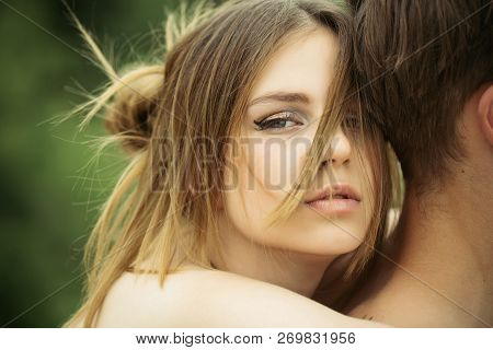 Date Of Beautiful Couple. Love And Tenderness. Romantic Couple Embrace. Valentines Day. Cute Man And