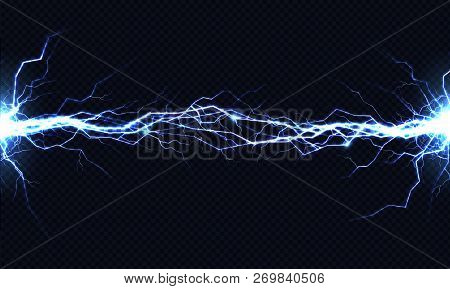 Powerful Electrical Discharge Hitting From Side To Side Realistic Vector Illustration Isolated On Bl