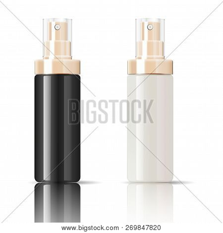 Cosmetics Bottles Can Sprayer Containers Set In Realistic Glossy Glass Or Plastic Material. Atomizer