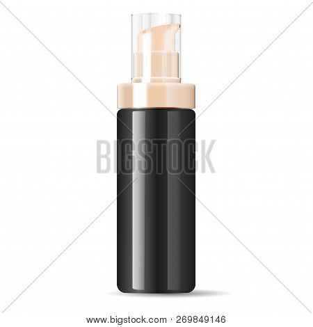 Black Cosmetics Cream Dispenser Pump Bottle Container In Realistic Glossy Glass Or Plastic Material.