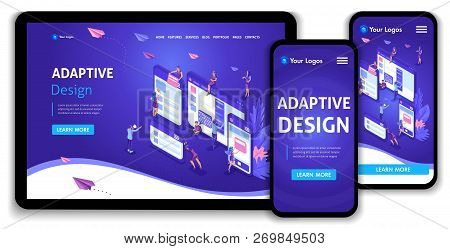 Template Landing Page Isometric Concept Of Web Page Design And Development Of Mobile Websites, Adapt