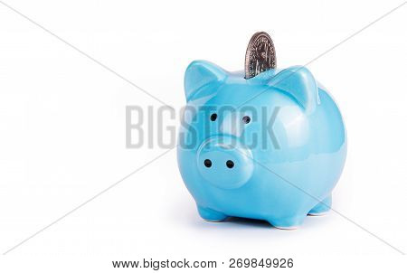 Blue Piggy Bank On White Background. Copy Space. Piggy Bank And Coin. Symbol Of The Year 2019