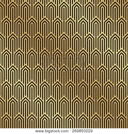 Seamless Black And Gold Art Deco Pattern Background. Art Deco Background Wallpaper.
