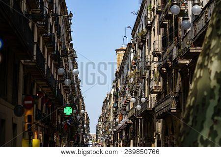 Barcelona, Spain - 2018. Old Architectural Buildings In Barcelona. Spain.