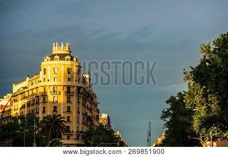 Barcelona, Spain - 2018 Building Facade. Old Architectural  Buildings In Barcelona. Spain.