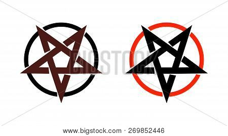 Satan star, pentagram symbol of satanism, Mystical Sign round form - Vector emblem of spiritual cult. poster