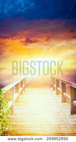 Way To Heaven . Walk Into Light . Dramatic Nature Background .light From Sky . Religion Background .