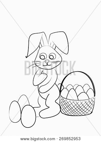 Easter Coloring. Black And White Raster Illustration For Coloring Book.easter Bunny With Basket With