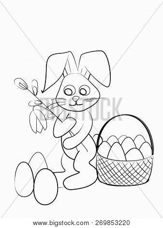 Easter Coloring. Black And White Raster Illustration For Coloring Book.easter Bunny With  Two Flower