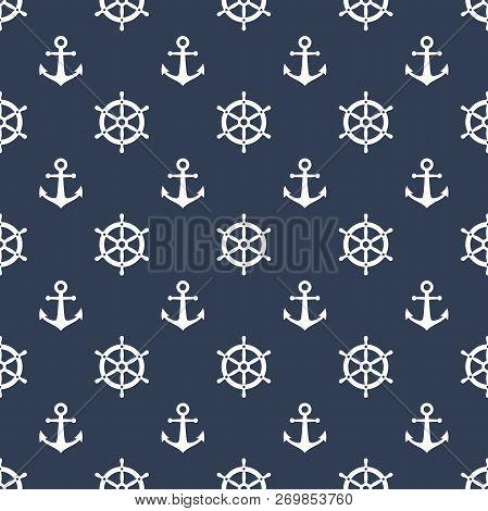Anchor And Ship Wheel Seamless Pattern Design. Vector Nautical Sea Pattern Print, White Ship Wheel A