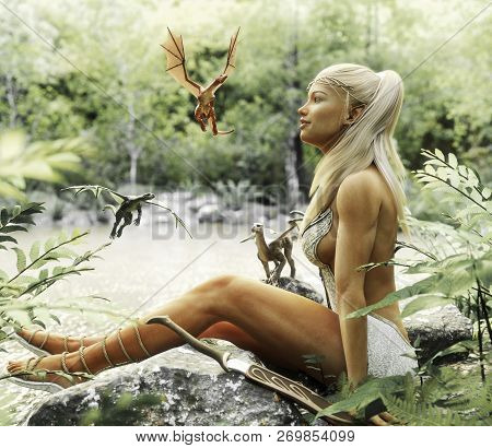 Elegant Elven blonde female relaxing by a mythical forest pond with her baby dragons. Fantasy mythical 3d rendering poster