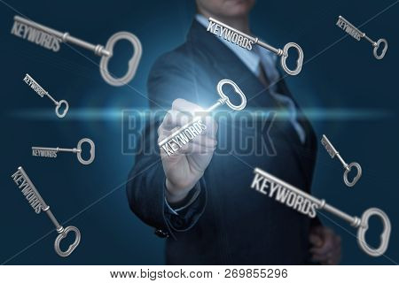 A Businesswoman Is Working With The Keywords Icons At The Dark Background. The Concept Is Relevance