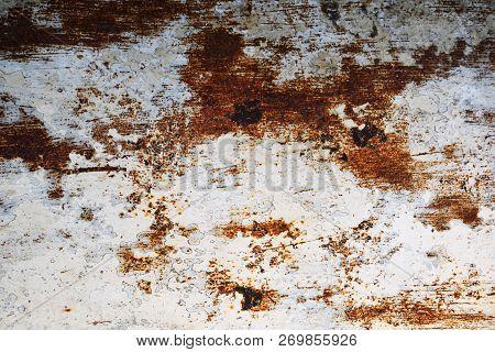 Metal Rust Background Metal Rust Texture. Beautiful Unusual Background. Rusted White Painted Metal W