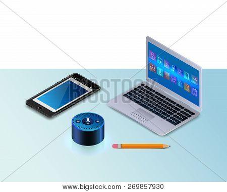 Smart Speaker For Smart Home Control. Modern Laptop, A Mobile Phone, Pencil. Intelligent Voice Activ
