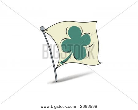 Vector Shamrock Flag with Flower for St Patrick's Day poster