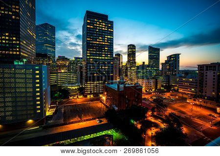 Illuminated Cityscape At Blue Hour Nightscape Of Denver , Colorado , Usa Amazing Skies Above A Fast