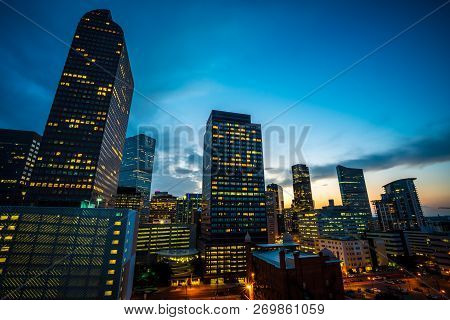 Looking Up At The Rising Office Buildings And City Skyline Of Denver , Colorado , Usa Nightscape Sky