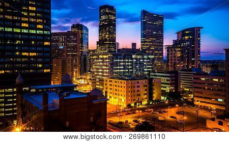 Denver , Colorado , Usa Nightscape Skyline Cityscape At Night Perfect Colors Across The Downtown Mil