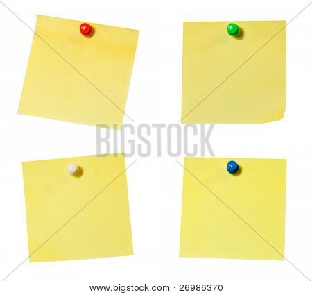 Collection of four blank sticky notes isolated on white