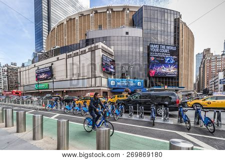 Madison Square Garden, New York, Usa October 15 2018. A Nice Shot Of The Famous Venue On A Sunny Aut