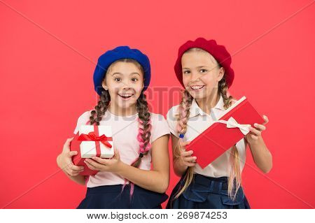 We Love Christmas. Small Cute Girls Received Holiday Gifts. Best Toys And Christmas Gifts. Kids Litt