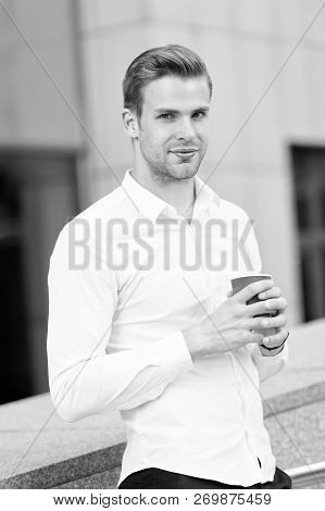 Coffee Break Of Businessman. Businessman Drink Coffee At Work Break. Coffee Break For Handsome Busin