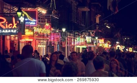 New Orleans, Louisiana - May 6th: Unidentified People On Bourbon Street At Night In The Historic Fre