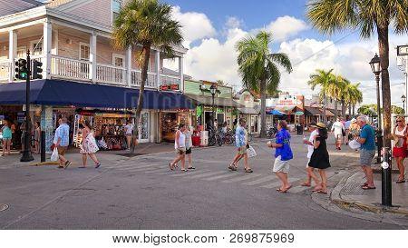 Key West, Florida - June 4th: Tourists Explore Shops Along Duval Street In Downtown Key West, Florid