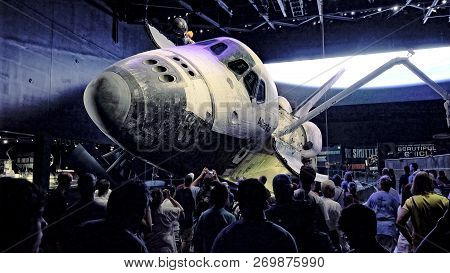Cape Canaveral, Florida - June 14th: A Crowd Of Visitors View The Space Shuttle Atlantis At The Kenn