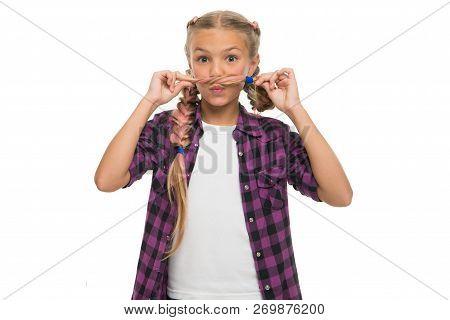 Having Fun. Facial Hair Concept. Girl Long Braids White Background. Kanekalon Braid. Keep Hairstyle