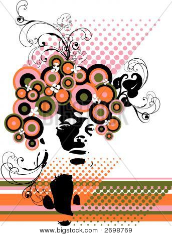 Retro Model Silhouette Floral Abstract (Vector)