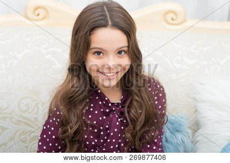 Strong Hair Concept. Kid Girl Long Healthy Shiny Hair. Little Girl Grow Long Hair. Teaching Child He