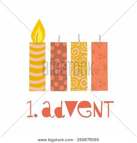 First Sunday In Advent Vector Illustration. One Burning Advent Candle. Erster Advent German Text. Fl
