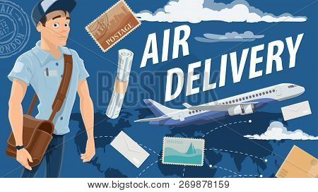 Air Mail Delivery And Mailman, Cartoon Vector. Vector Airplane Cargo Or Freight Shipping Parcel Boxe