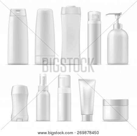 Cosmetic Package Mockups, 3d Plastic Bottle Containers. Vector Realistic Set Of Shampoo Or Facial Cr