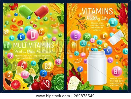 Vitamins And Multivitamin Supplement Complex Capsules And Pills. Vector Vitamins In Fruits, Vegetabl