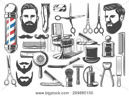 Barbershop Tools And Equipment, Beard Or Mustache Shave And Haircut. Vector Set Of Barber Shop Pole