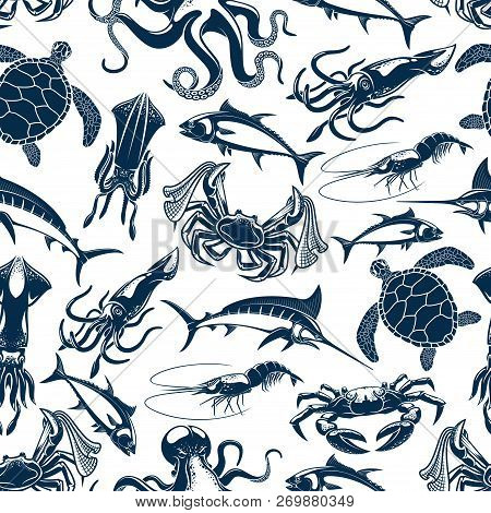 Fishing Fish, Underwater Sea Animals And Seafood Pattern Background. Vector Seamless Design Of Tuna,